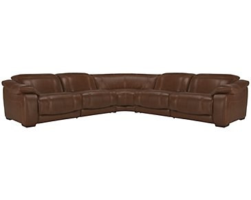 Orion Medium Brown Leather & Bonded Leather Small Two-Arm Power Reclining Sectional