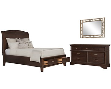 Canyon Dark Tone Wood Platform Storage Bedroom