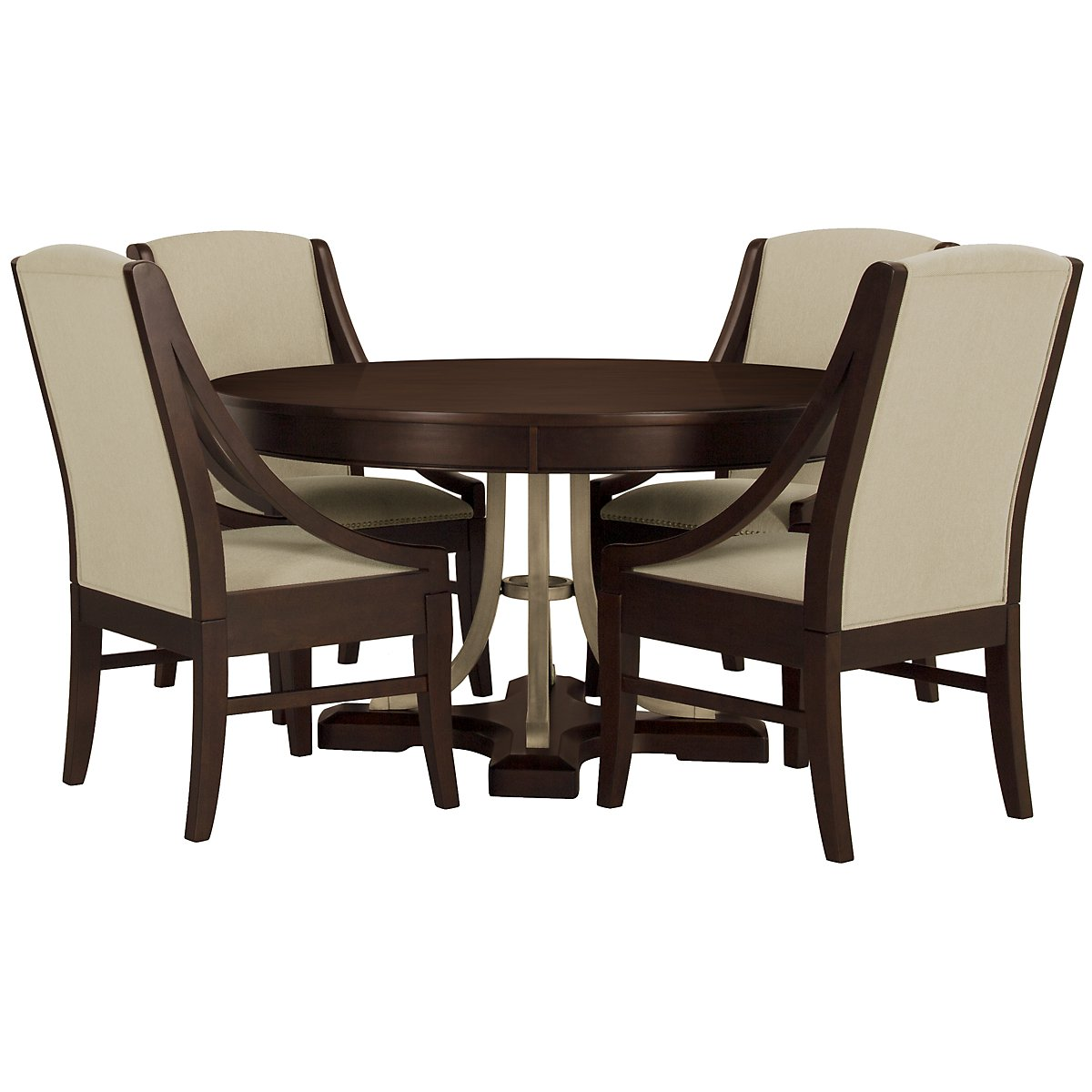 Canyon Dark Tone Round Table & 4 Sloped Chairs