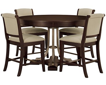 Canyon Dark Tone Round High Table & 4 Upholstered Barstools
