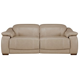 Orion Lt Taupe Leather & Bonded Leather Reclining Loveseat