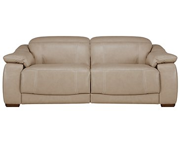 Orion Light Taupe Leather & Bonded Leather Reclining Loveseat