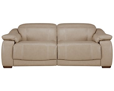 Orion Light Taupe Leather & Bonded Leather Power Reclining Loveseat