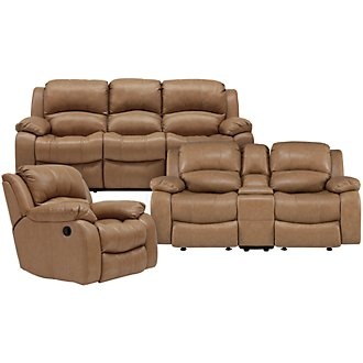 Tyler3 Dk Taupe Leather & Vinyl Manually Reclining Living Room