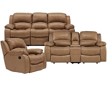 Tyler3 Dark Taupe Leather & Vinyl Manually Reclining Living Room