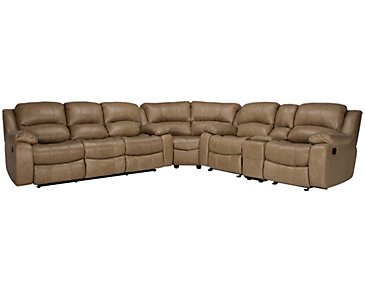 Tyler3 Dark Taupe Leather & Vinyl Two-Arm Manually Reclining Sectional