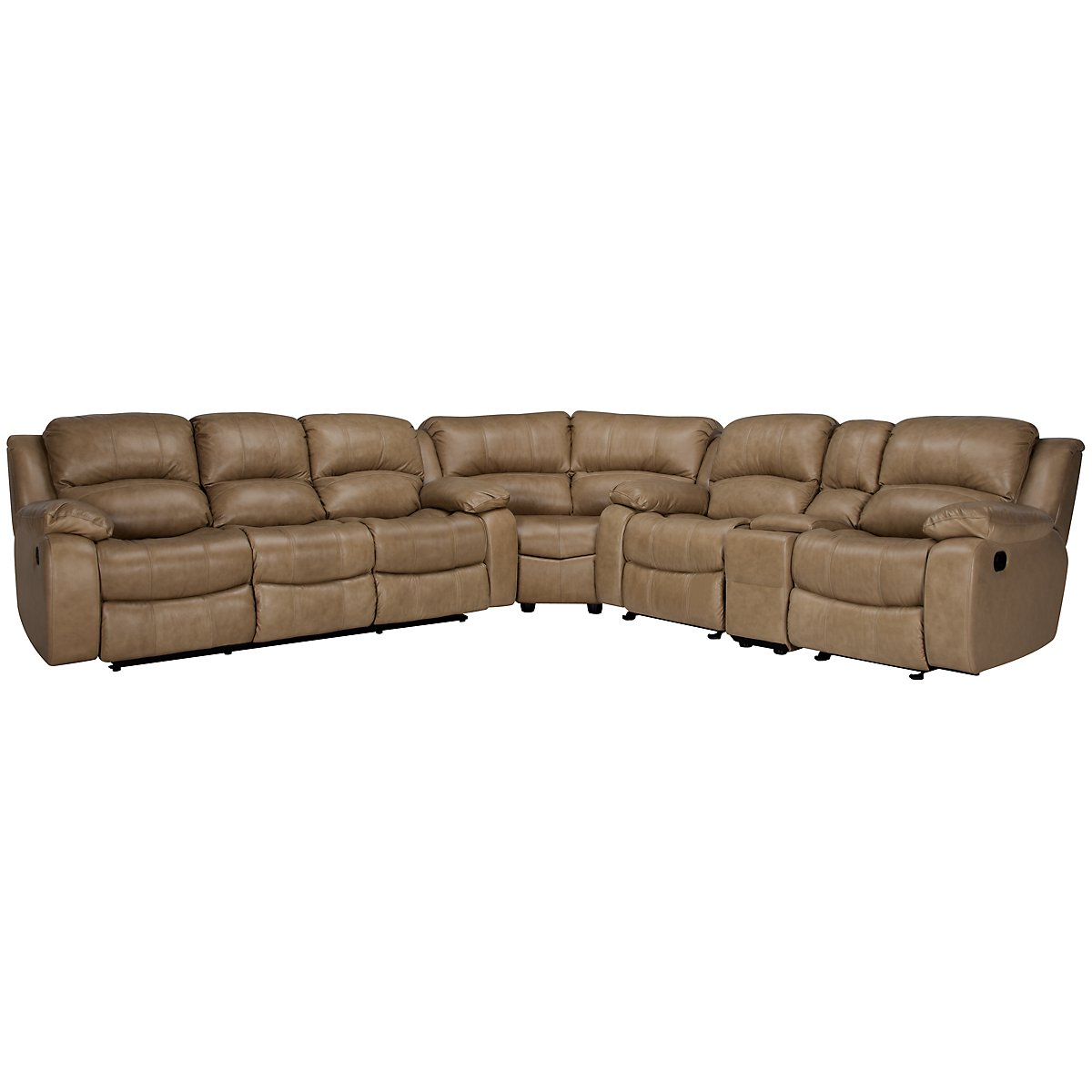 Tyler3 Dark Taupe Leather & Vinyl Two-Arm Power Reclining Sectional
