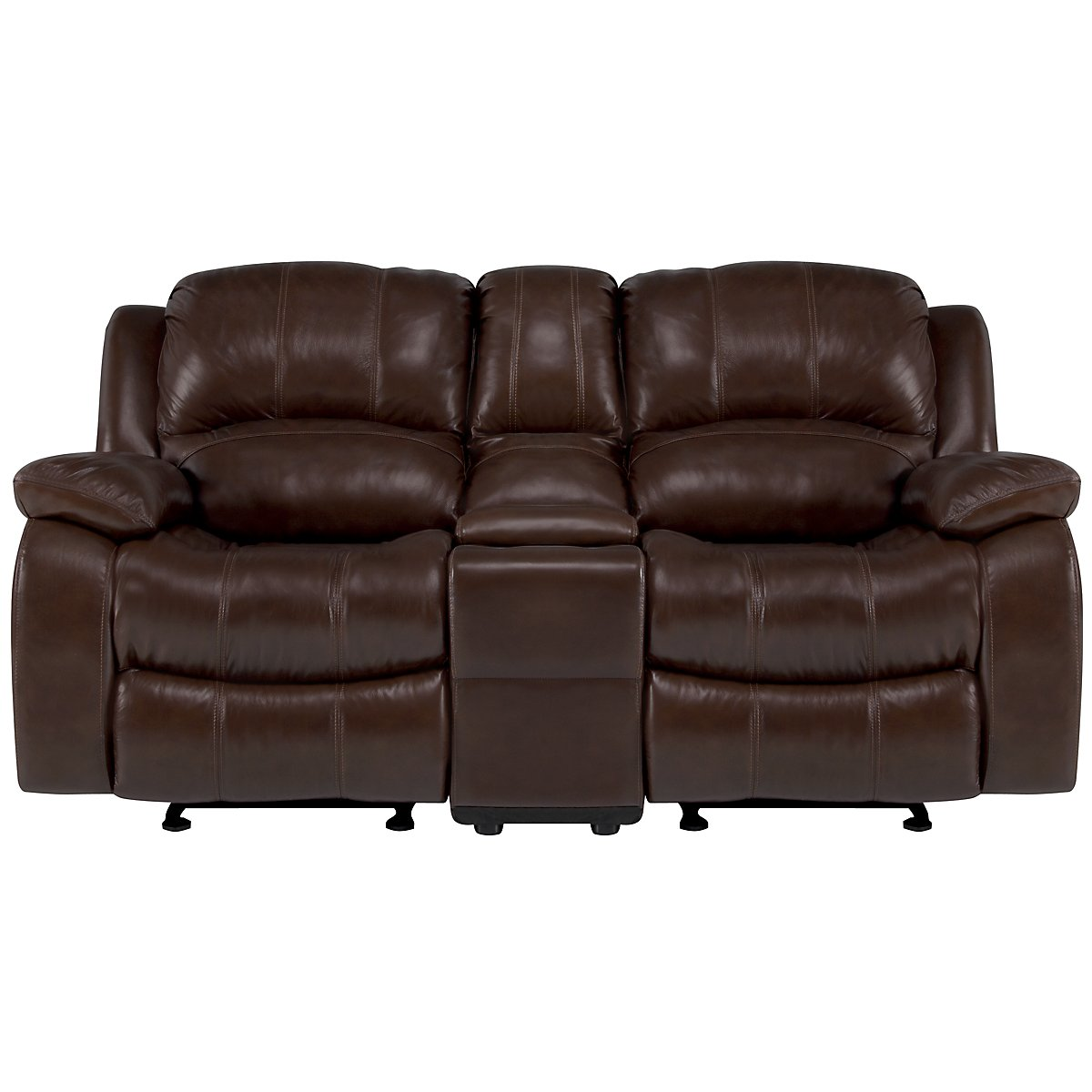 Tyler3 Md Brown Leather & Vinyl Reclining Console Loveseat
