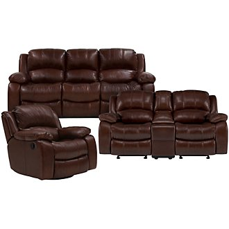 Tyler3 Md Brown Leather & Vinyl Manually Reclining Living Room
