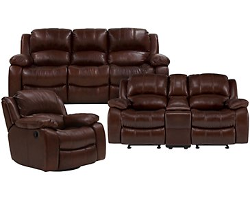 Tyler3 Medium Brown Leather & Vinyl Manually Reclining Living Room