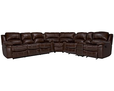 Tyler3 Medium Brown Leather & Vinyl Two-Arm Manually Reclining Sectional