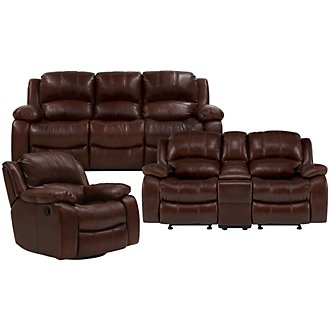 Tyler3 Md Brown Leather & Vinyl Power Reclining Living Room