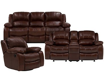 Tyler3 Medium Brown Leather & Vinyl Power Reclining Living Room