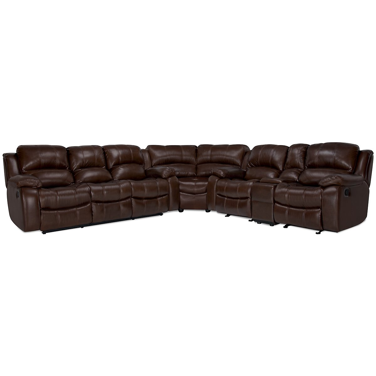 Tyler3 Md Brown Leather & Vinyl Two-Arm Power Reclining Sectional