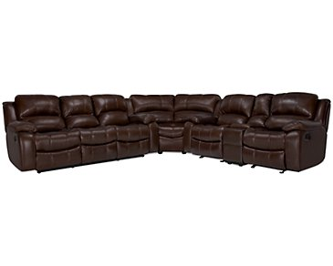 Tyler3 Medium Brown Leather & Vinyl Two-Arm Power Reclining Sectional