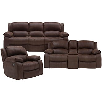Tyler2 Dk Brown Microfiber Manually Reclining Living Room