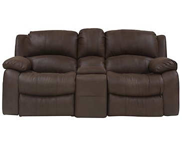 Tyler2 Dark Brown Microfiber Power Reclining Console Loveseat