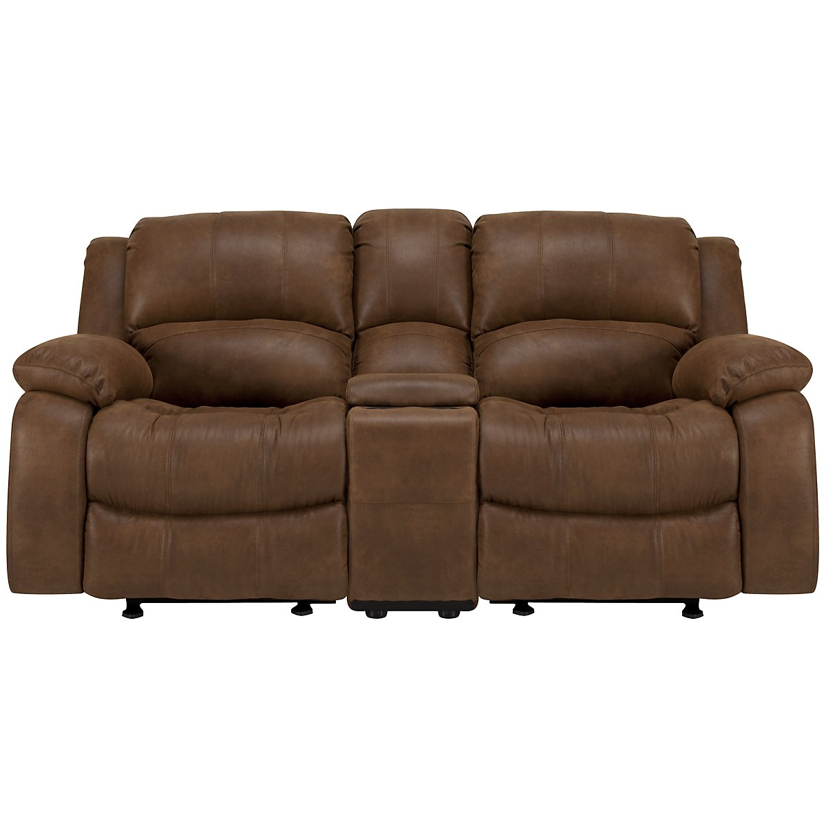 Tyler2 Md Brown Microfiber Power Reclining Console Loveseat