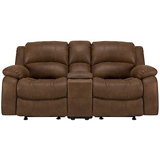Tyler2 Medium Brown Microfiber Power Reclining Console Loveseat