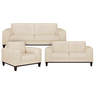 Piper Lt Beige Bonded Leather Living Room