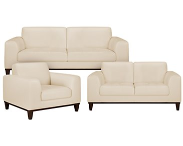Piper Light Beige Bonded Leather Living Room