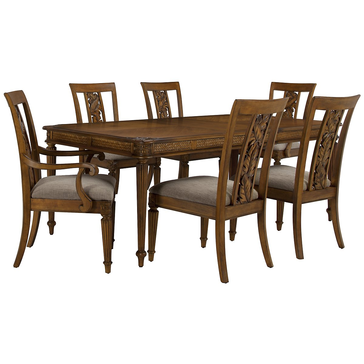 Palm Mid Tone Rectangular Table & 4 Carved Chairs