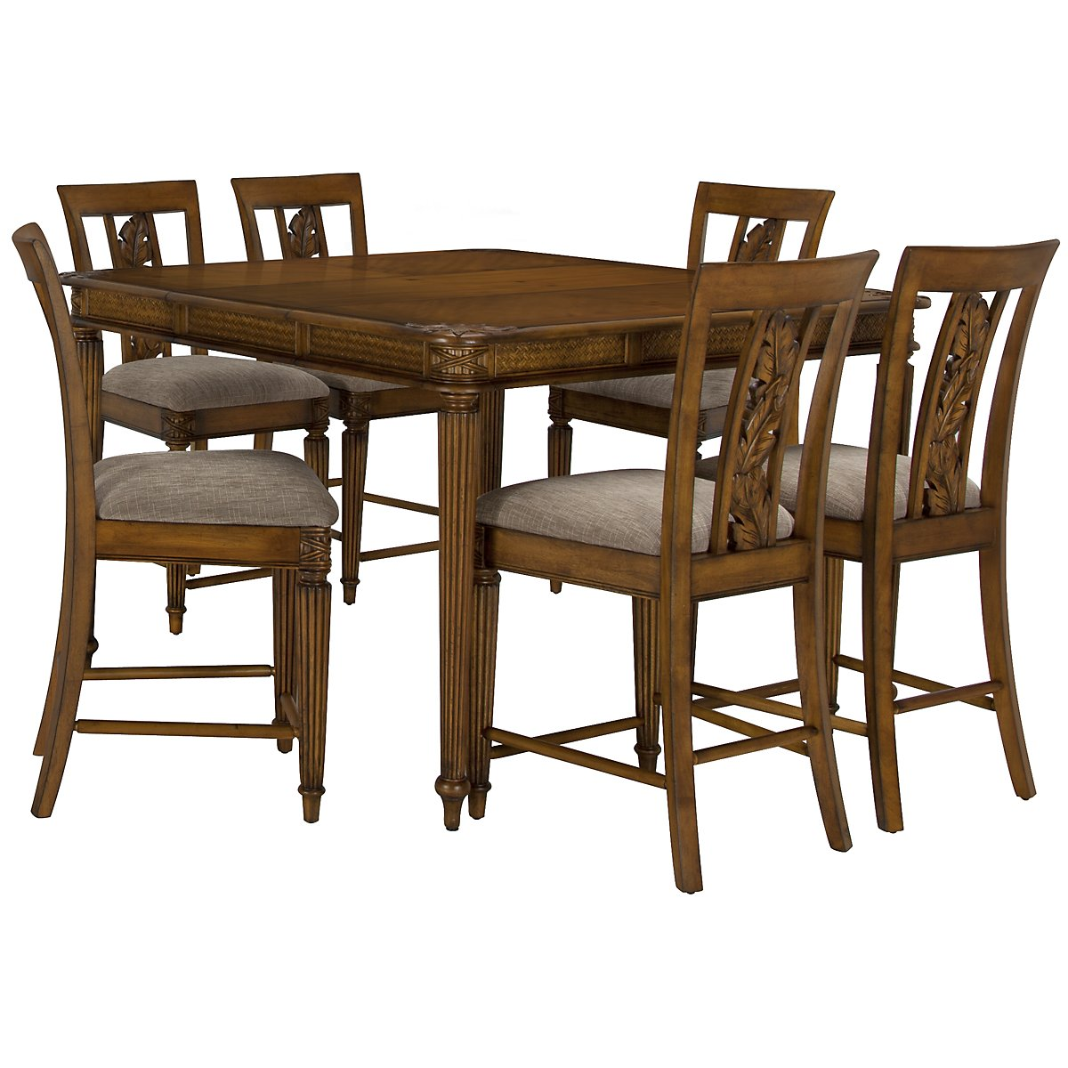 Palm Mid Tone High Table & 4 Carved Barstools