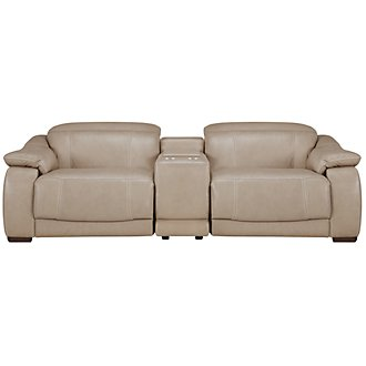 Orion Lt Taupe Leather & Bonded Leather Reclining Sofa