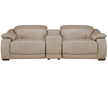Orion Light Taupe Leather & Bonded Leather Reclining Sofa