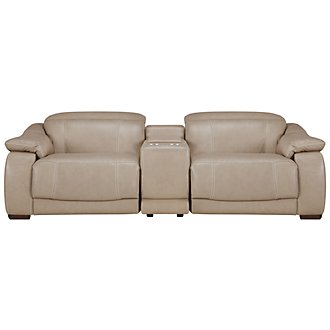 Orion Lt Taupe Leather & Bonded Leather Power Reclining Sofa