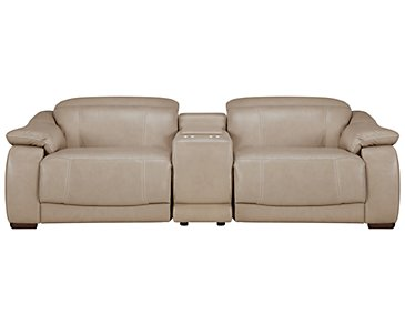 Orion Light Taupe Leather & Bonded Leather Power Reclining Sofa