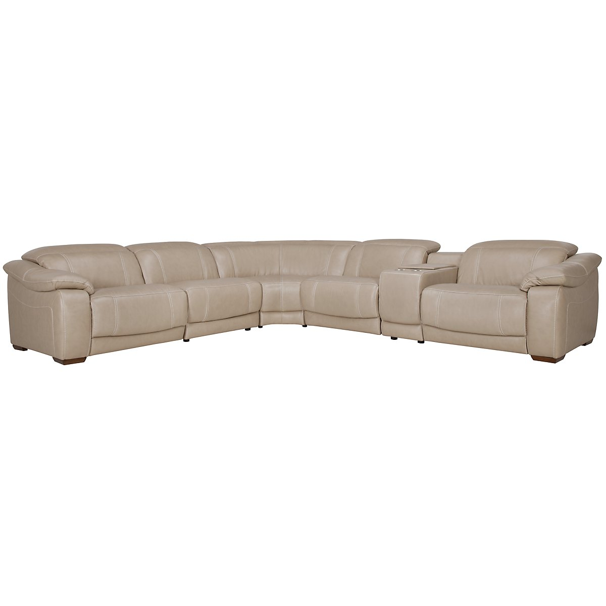 Orion Lt Taupe Leather & Bonded Leather Large Two-Arm Manually Reclining Sectional