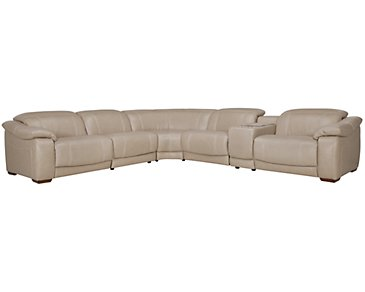 Orion Light Taupe Leather & Bonded Leather Large Two-Arm Manually Reclining Sectional