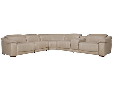 Orion Light Taupe Leather & Bonded Leather Large Two-Arm Power Reclining Sectional