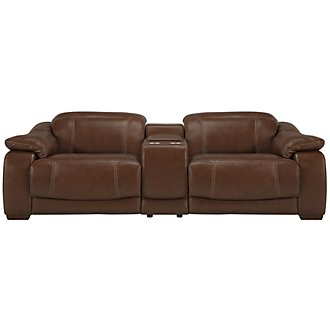 Orion Md Brown Leather & Bonded Leather Reclining Sofa