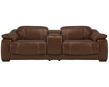 Orion Medium Brown Leather & Bonded Leather Reclining Sofa