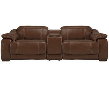 Orion Medium Brown Leather & Bonded Leather Power Reclining Sofa