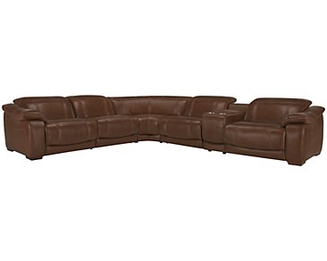 Orion Medium Brown Leather & Bonded Leather Large Two-Arm Manually Reclining Sectional