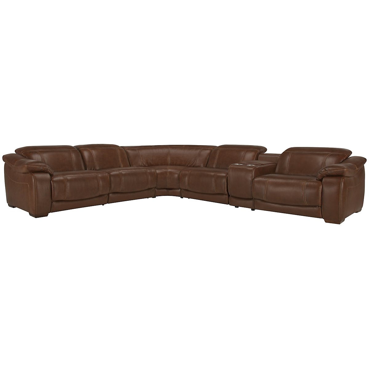 Orion Medium Brown Leather & Bonded Leather Large Two-Arm Power Reclining Sectional