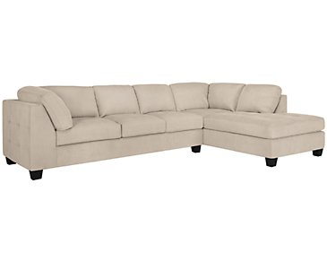 Mercer3 Light Taupe Microfiber Right Chaise Sectional