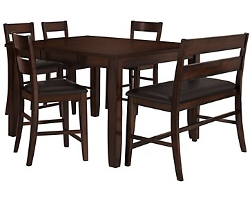 Mango2 Dark Tone High Table, 4 Barstools & High Bench