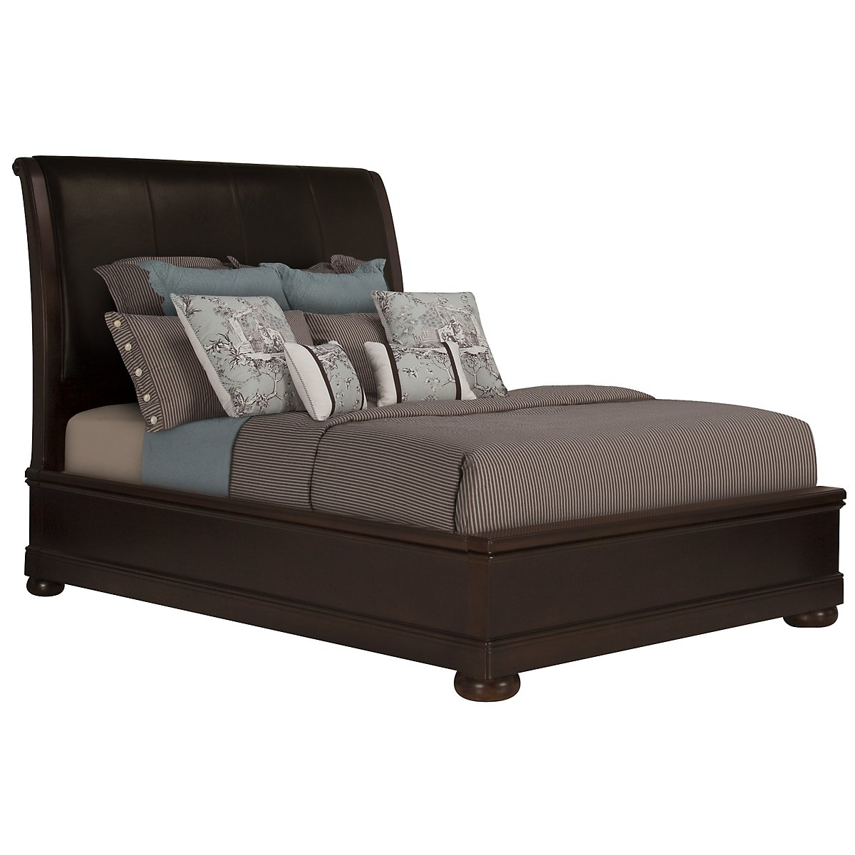 Belmont Dark Tone Leather Platform Bed