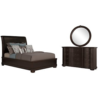 Belmont Dark Tone Leather Platform Bedroom