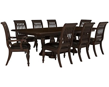 Belmont Dark Tone Rectangular Table & 4 Wood Chairs