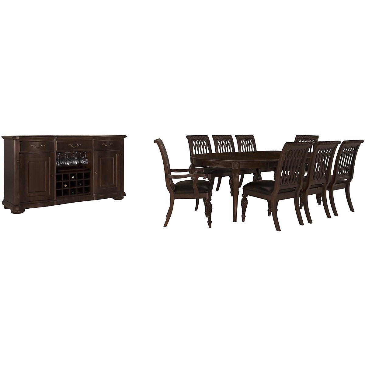 Belmont Dark Tone Oval Dining Room