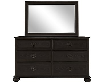 Belgian Oak Dark Tone Wood Dresser & Mirror