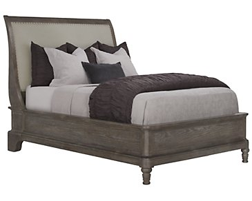 Belgian Oak Light Tone Upholstered Platform Bed