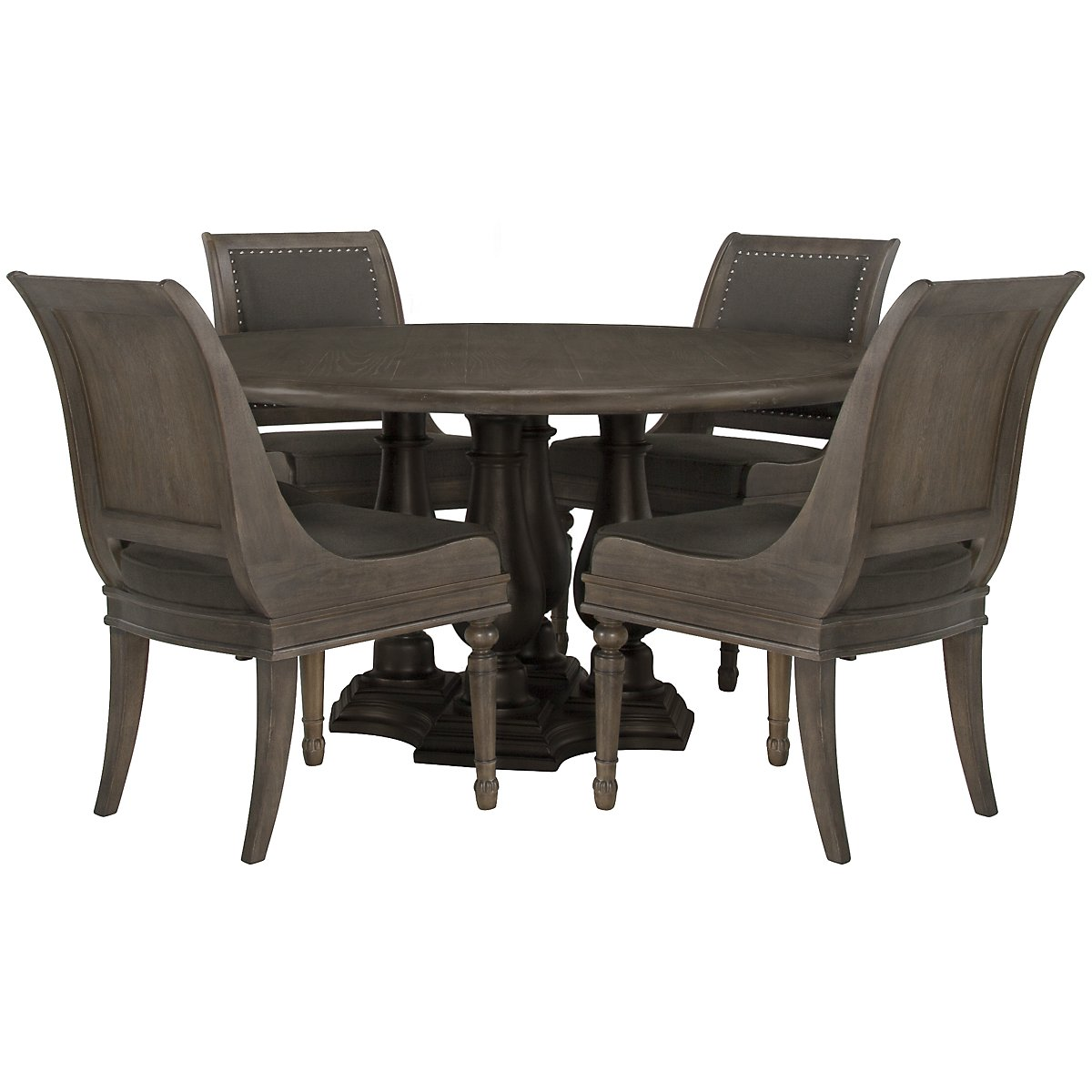 Belgian Oak Light Tone Round Table & 4 Sloped Chairs