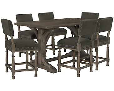 Belgian Oak Light Tone High Table & 4 Upholstered Barstools
