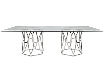 Argent Glass Rectangular Table